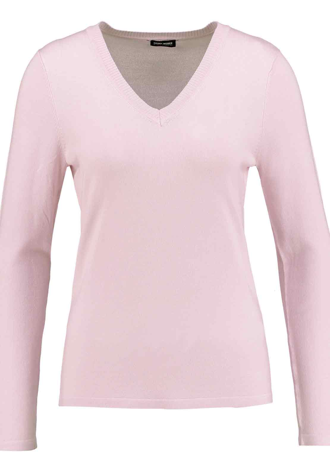 Gerry Weber V-Neck Fine Knit Sweater Jumper, Pink