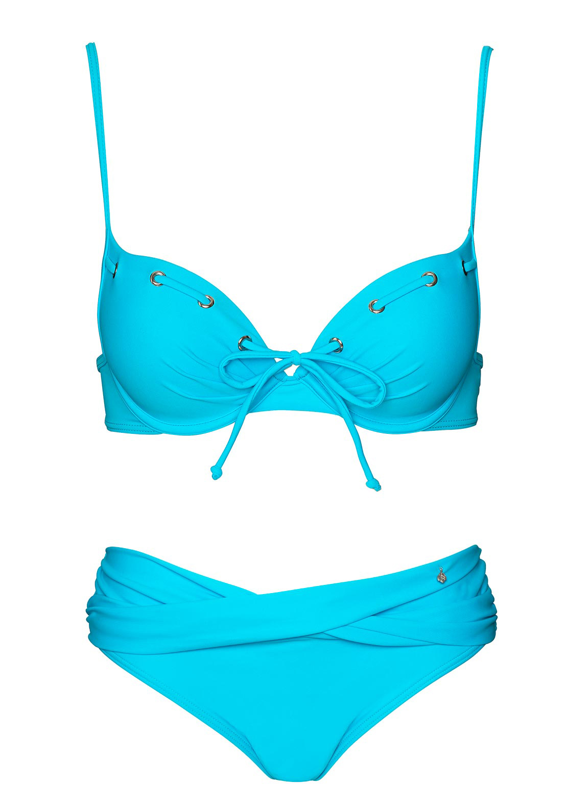 After Eden Mambo Tie Detail Bikini Set, Turquoise