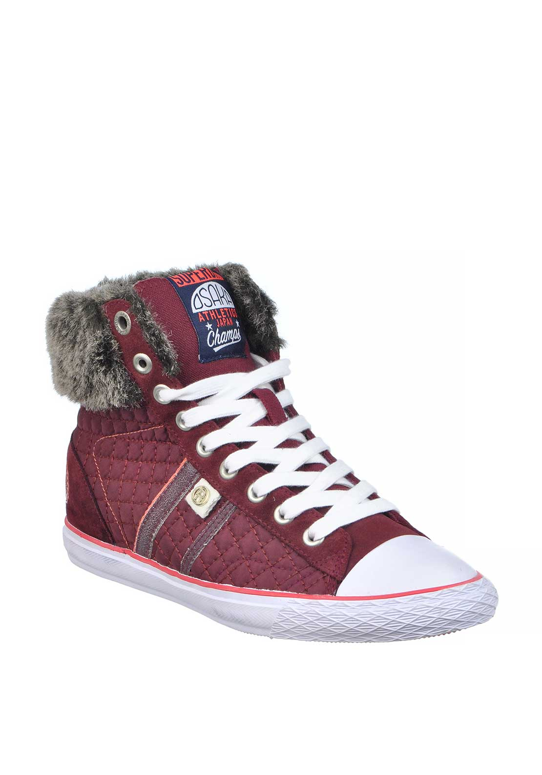 Superdry Womens Quilted Hammer Hi Top Trainers, Claret