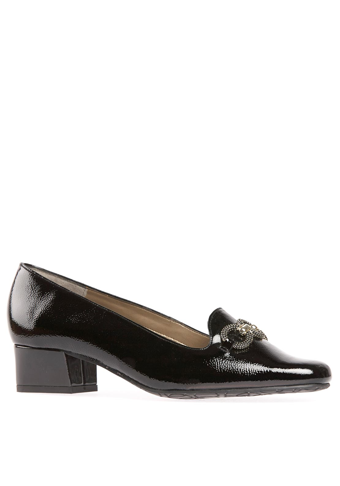 Van Dal Womens Twilight Ring Detail Heeled Patent Leather Shoe, Black