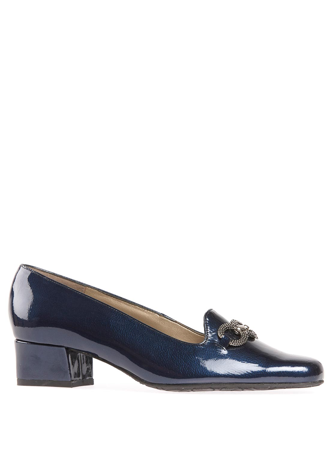 Van Dal Womens Twilight Ring Detail Heeled Patent Leather Shoe, Navy