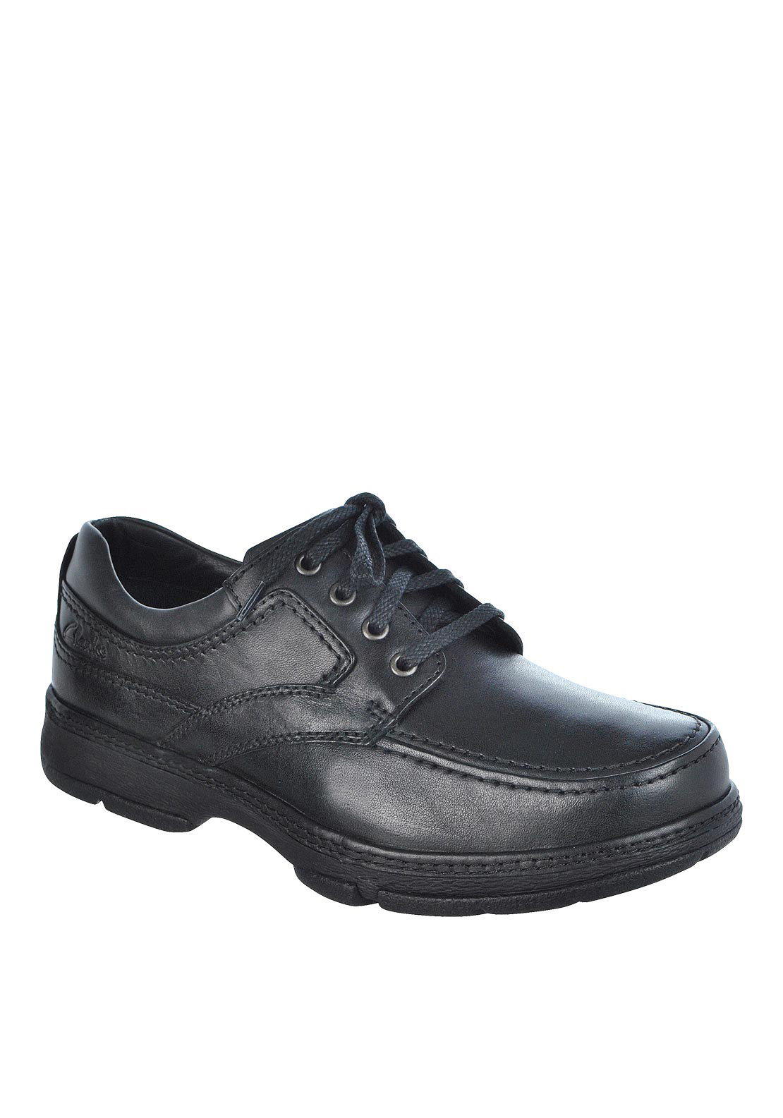 Clarks Mens Star Stride Lace Up Leather Shoe, Black
