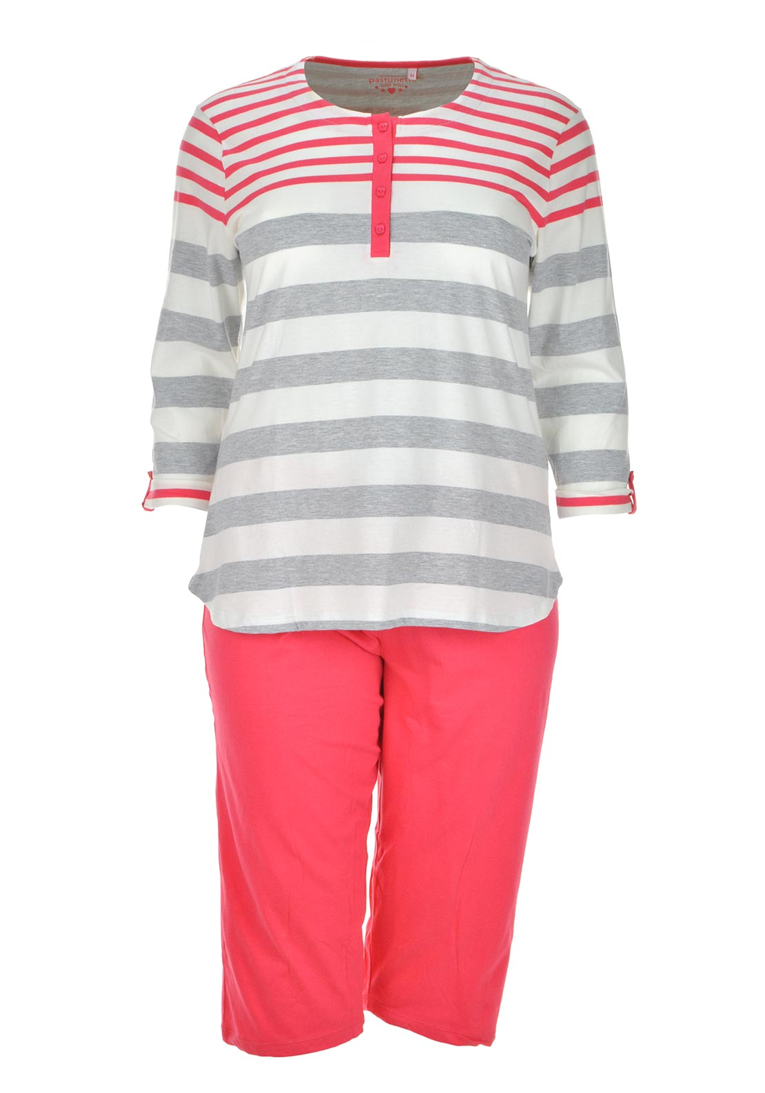 Pastunette Striped Pyjama Set, Coral and Grey