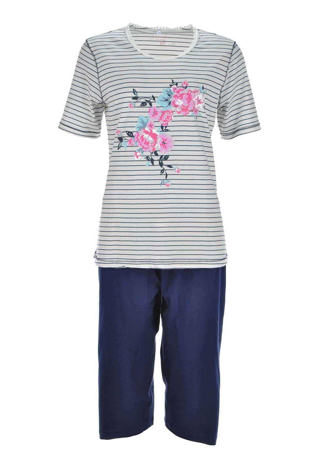 Pastunette Graphic Floral Print Pyjama Set, Cream and Navy
