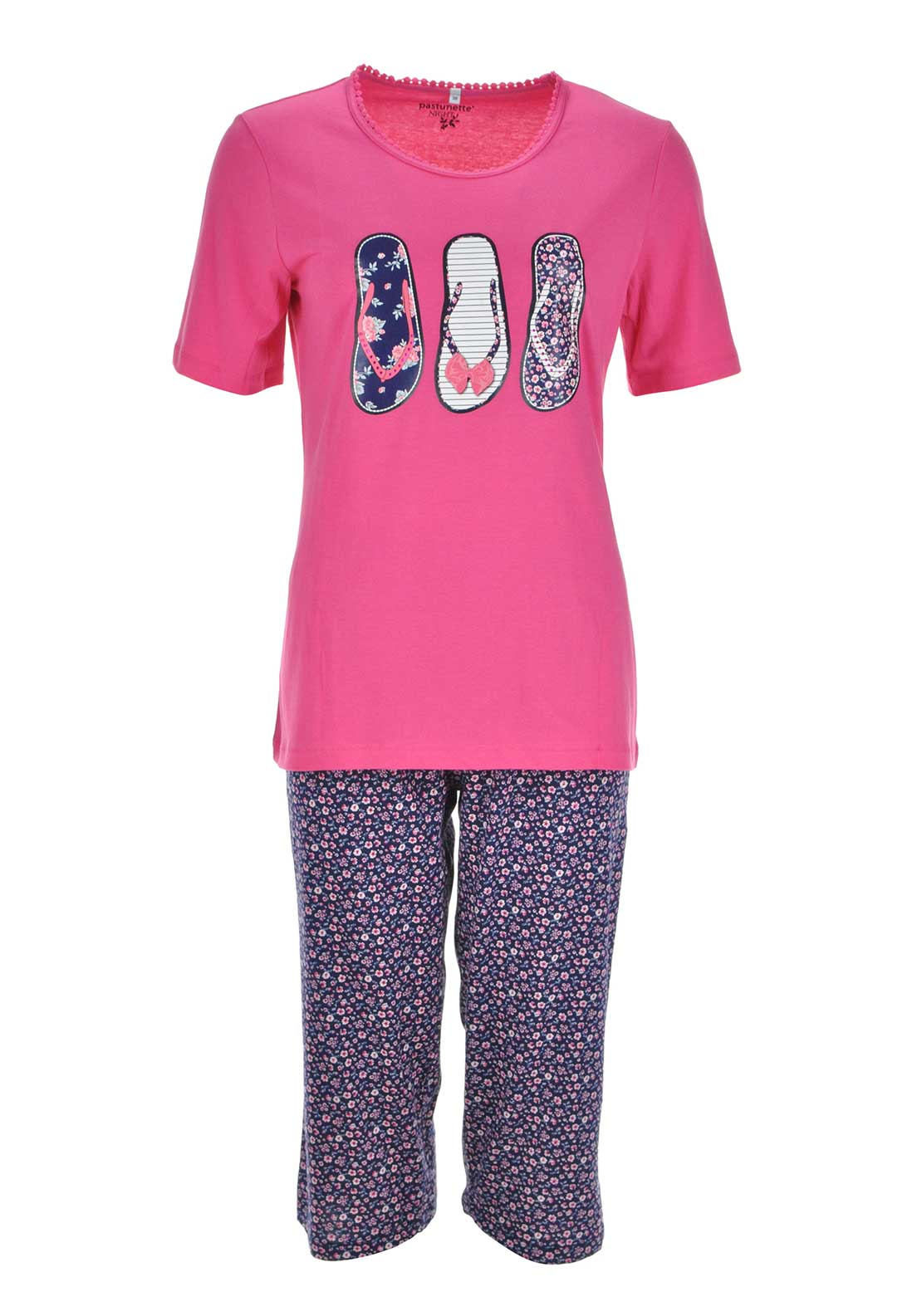 Pastunette Flip Flop Print Pyjama Set, Pink and Navy