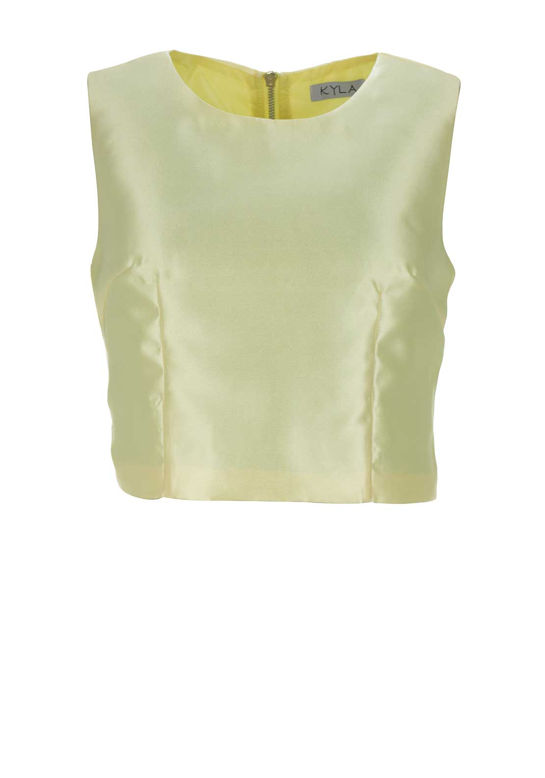 Boutique Sleeveless Satin Crop Top, Yellow