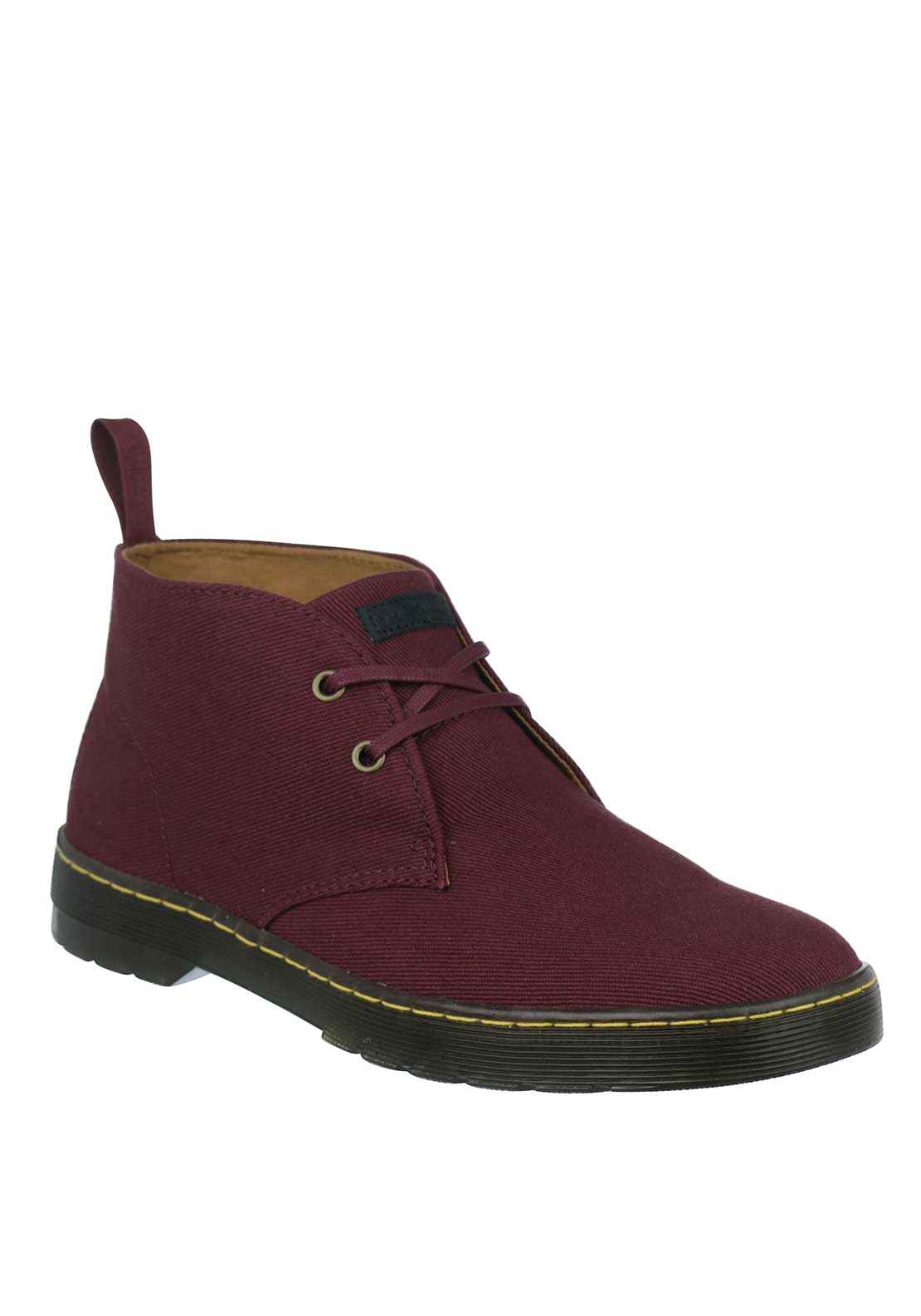 Dr. Martens Mens Mayport Twill Canvas Desert Boot, Oxblood
