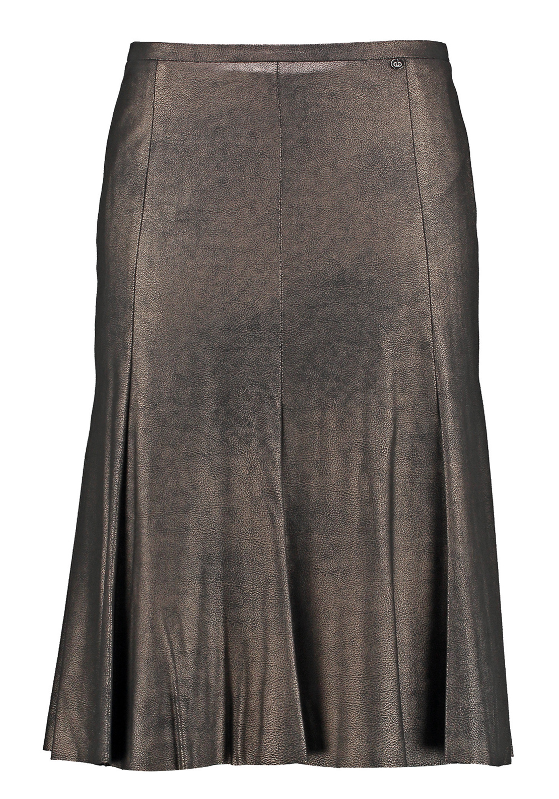 Gerry Weber Metallic Shimmer Leather Look Flared Midi Skirt, Brown