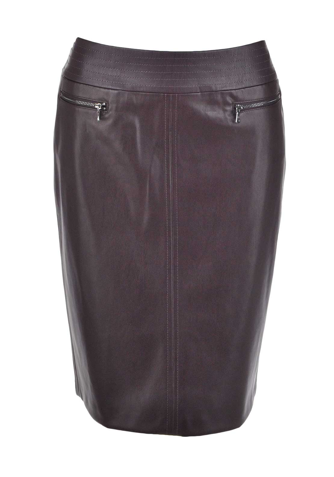 Gerry Weber Leather Look Pencil Skirt, Berry