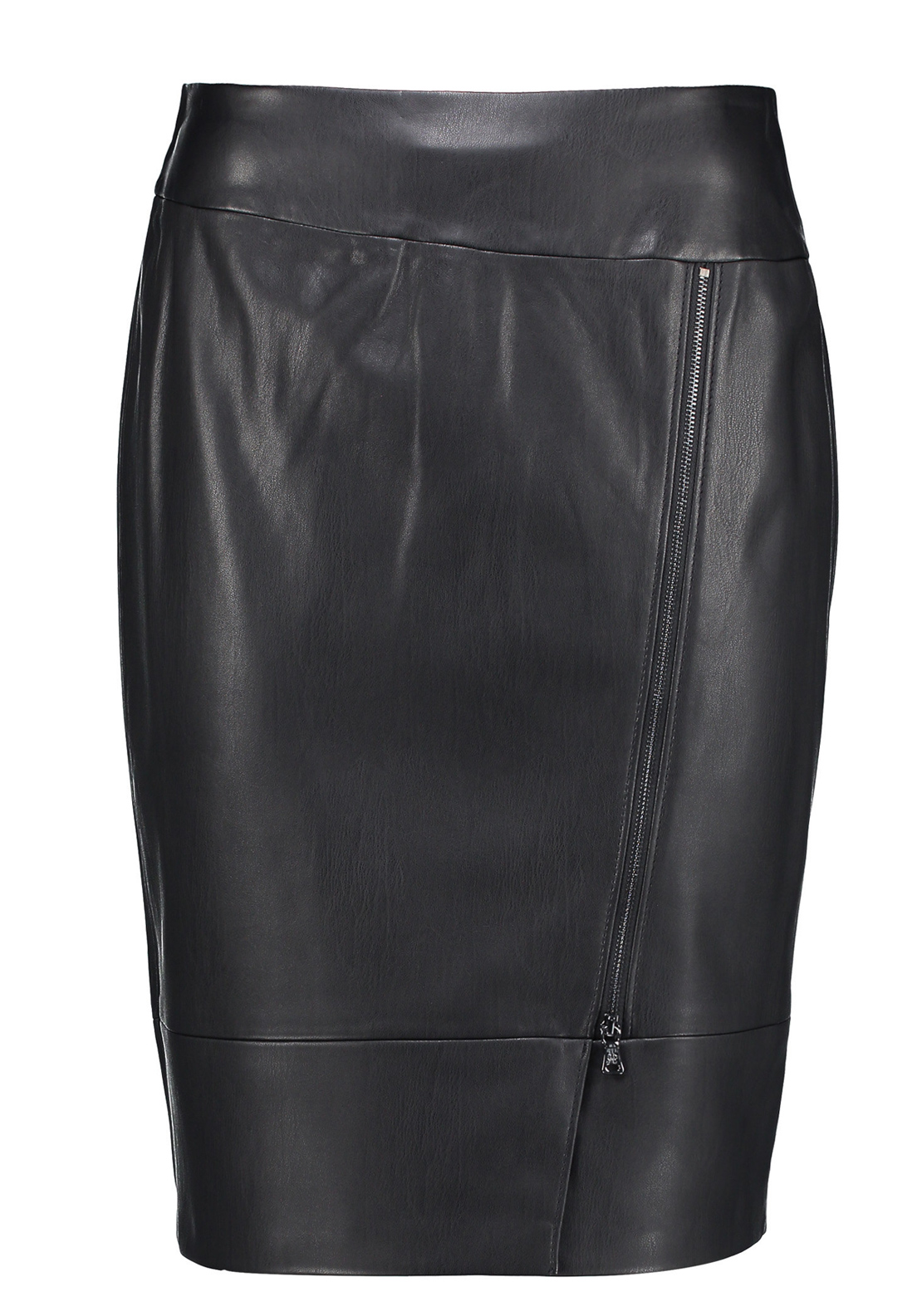 Gerry Weber Zip Detail Leather Look Pencil Skirt, Black