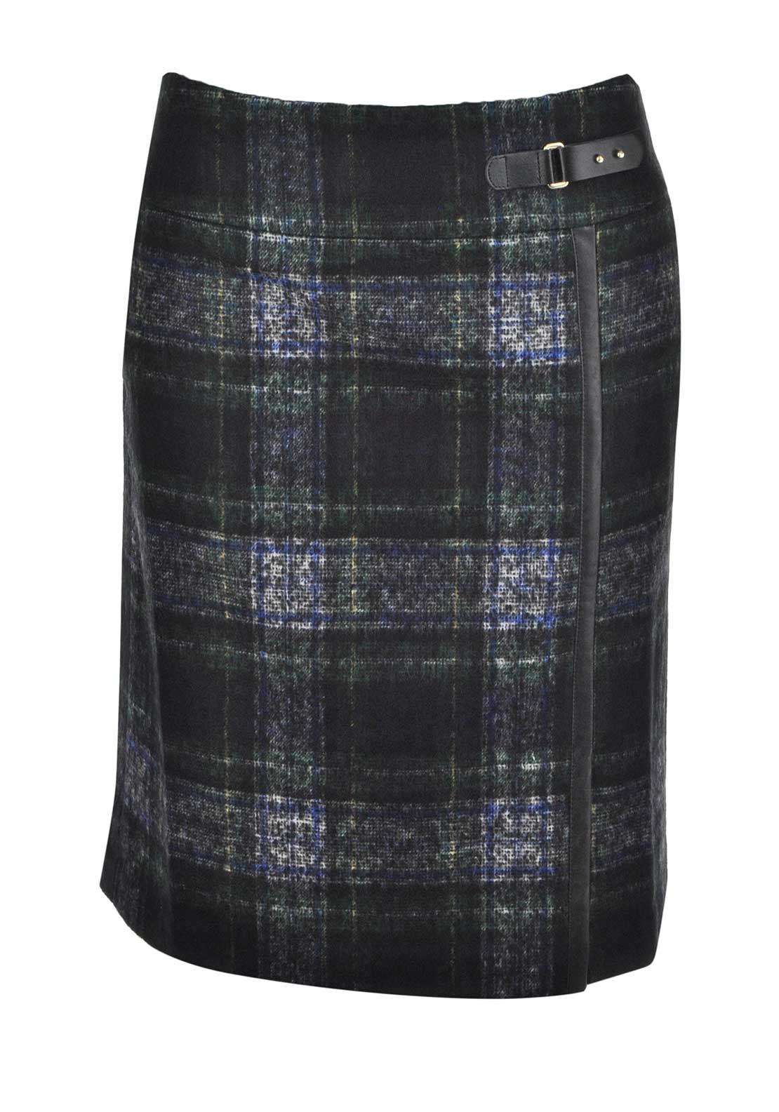 Gerry Weber Wool Blend Tartan Print Straight Skirt, Green Multi
