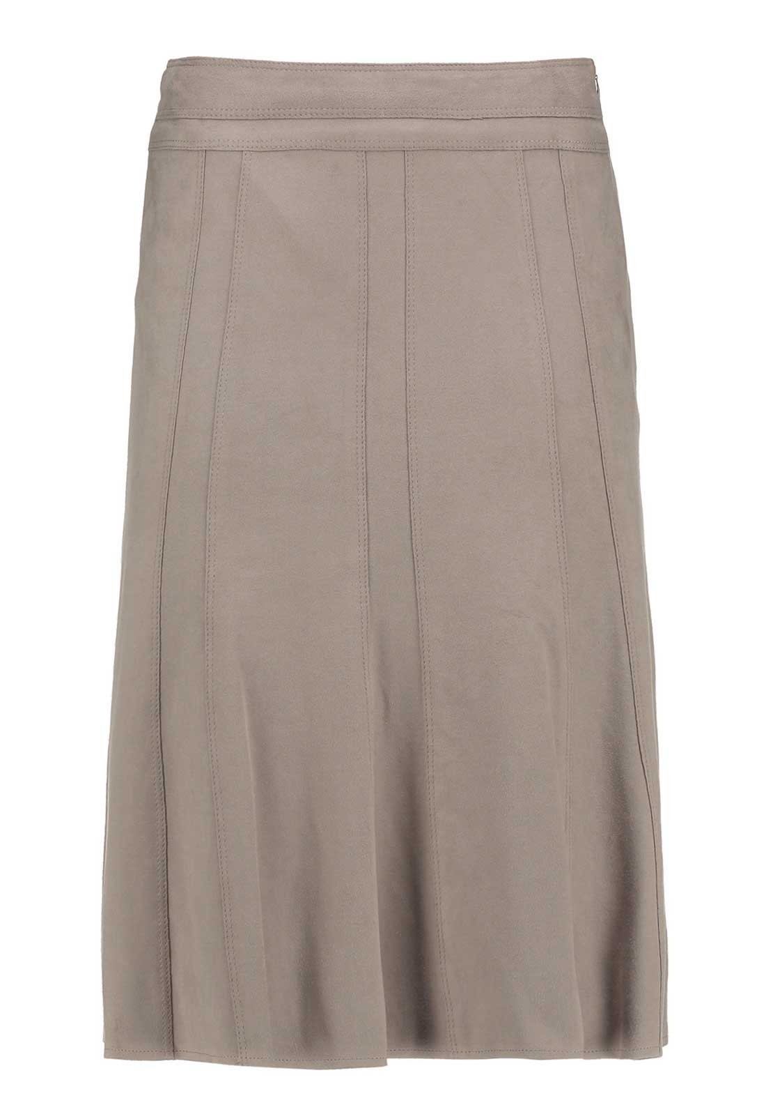Gerry Weber Faux Suede A-Line Midi Skirt, Beige