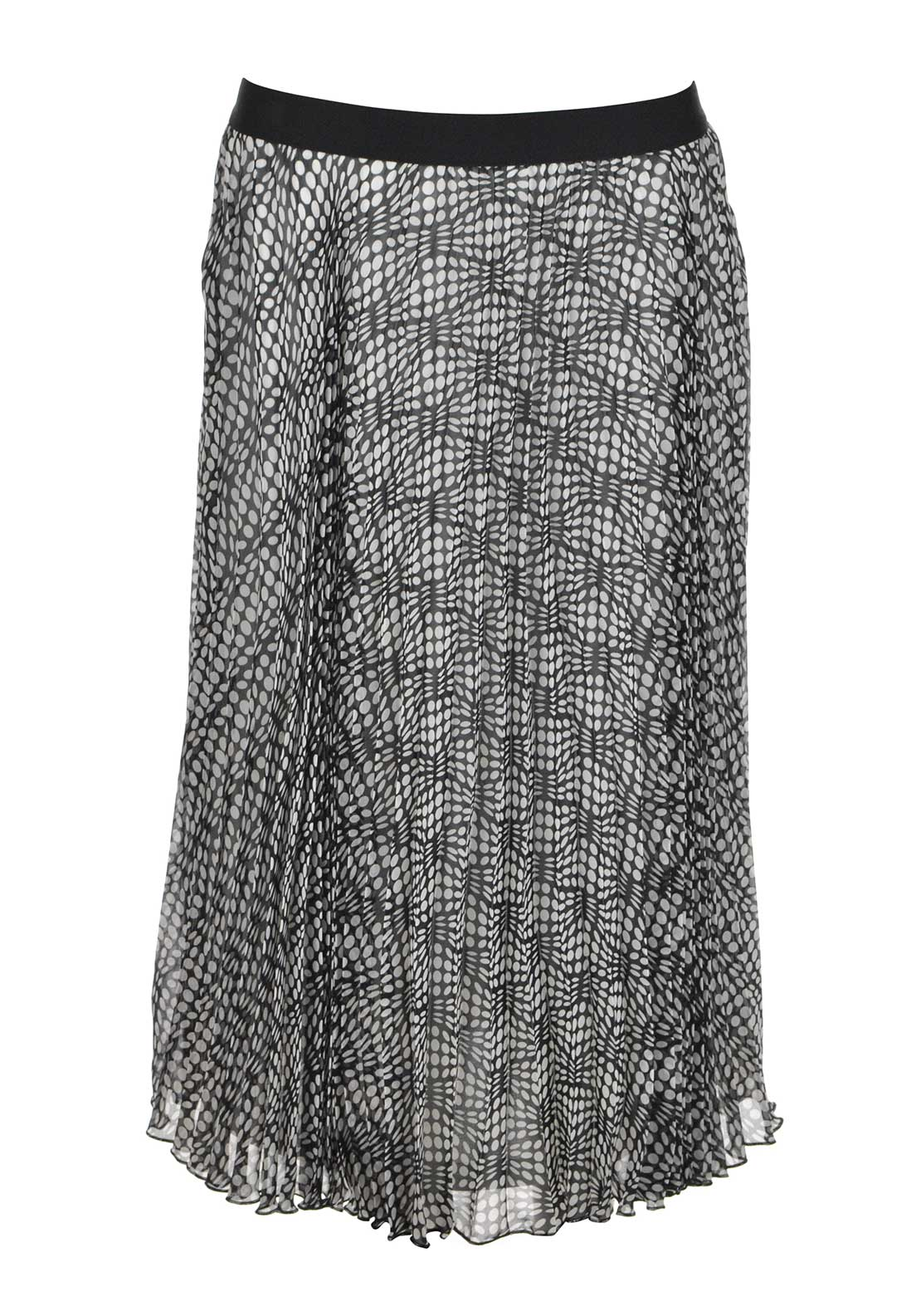 Gerry Weber Spot Print Pleated Midi Skirt, Black and White
