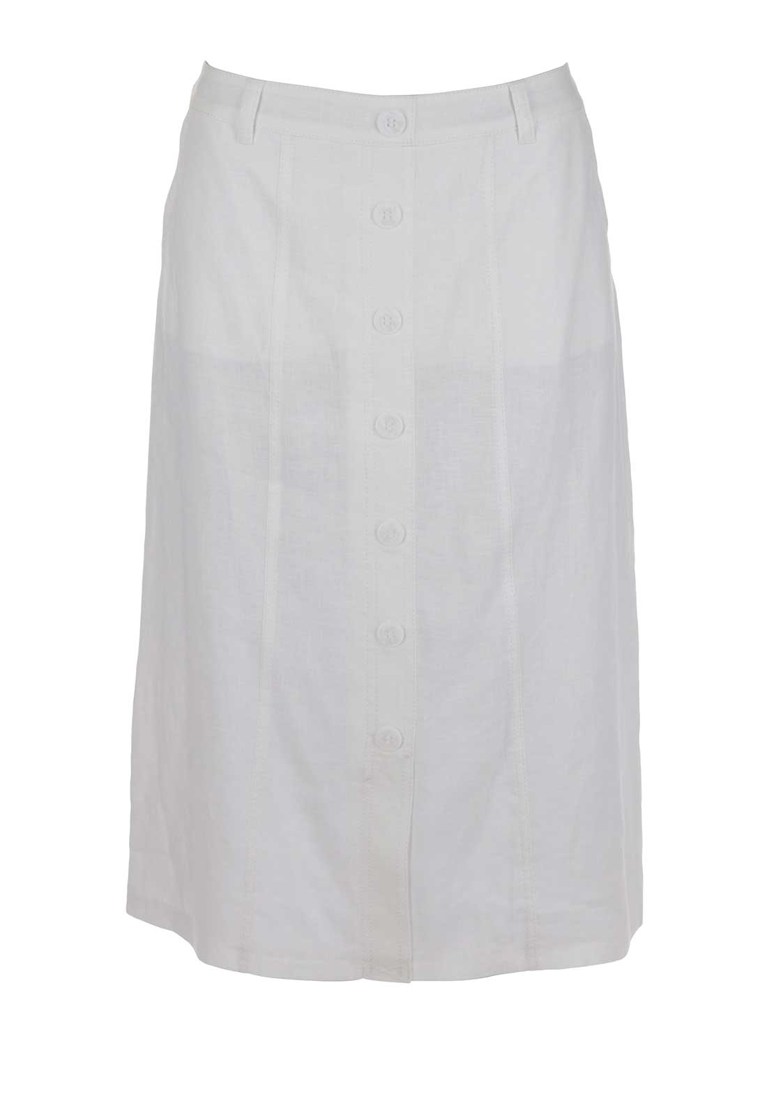 Gerry Weber Straight Linen Midi Skirt, White