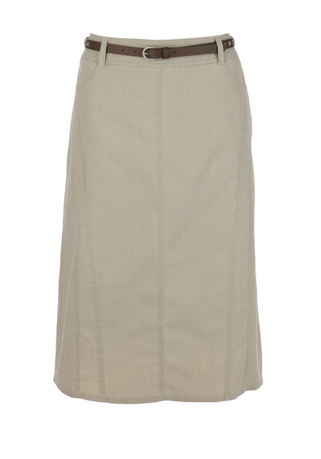 Gerry Weber Denim Midi Skirt, Beige