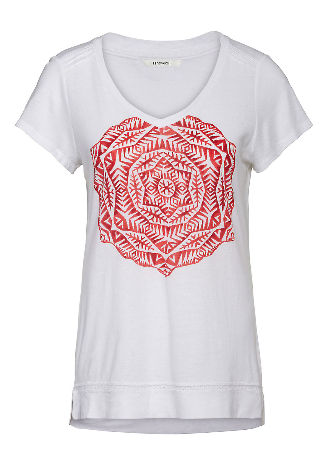 Sandwich Aztec Print Short Sleeve T-Shirt, White and Red