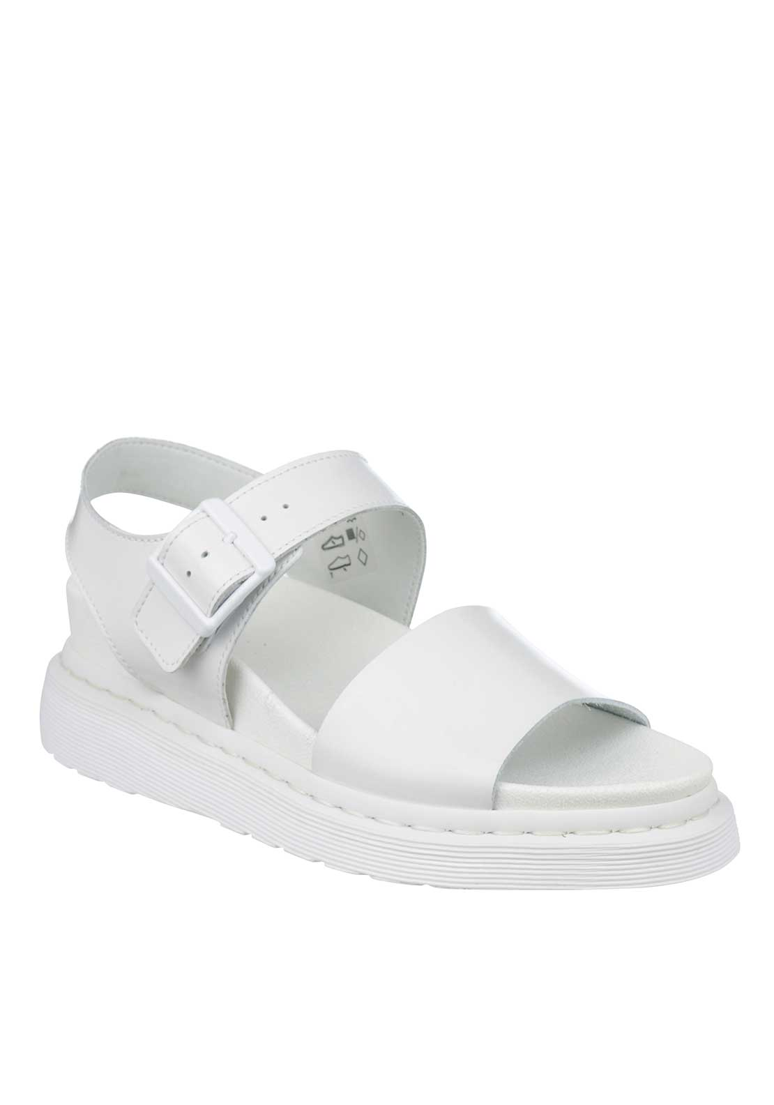Dr. Martens Womens Shore Patent Platform Sandals, White