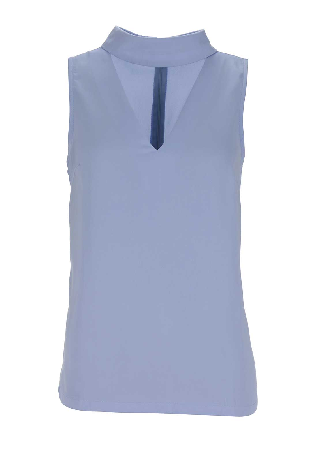 Boutique High Neck V Cut Out Top, Blue
