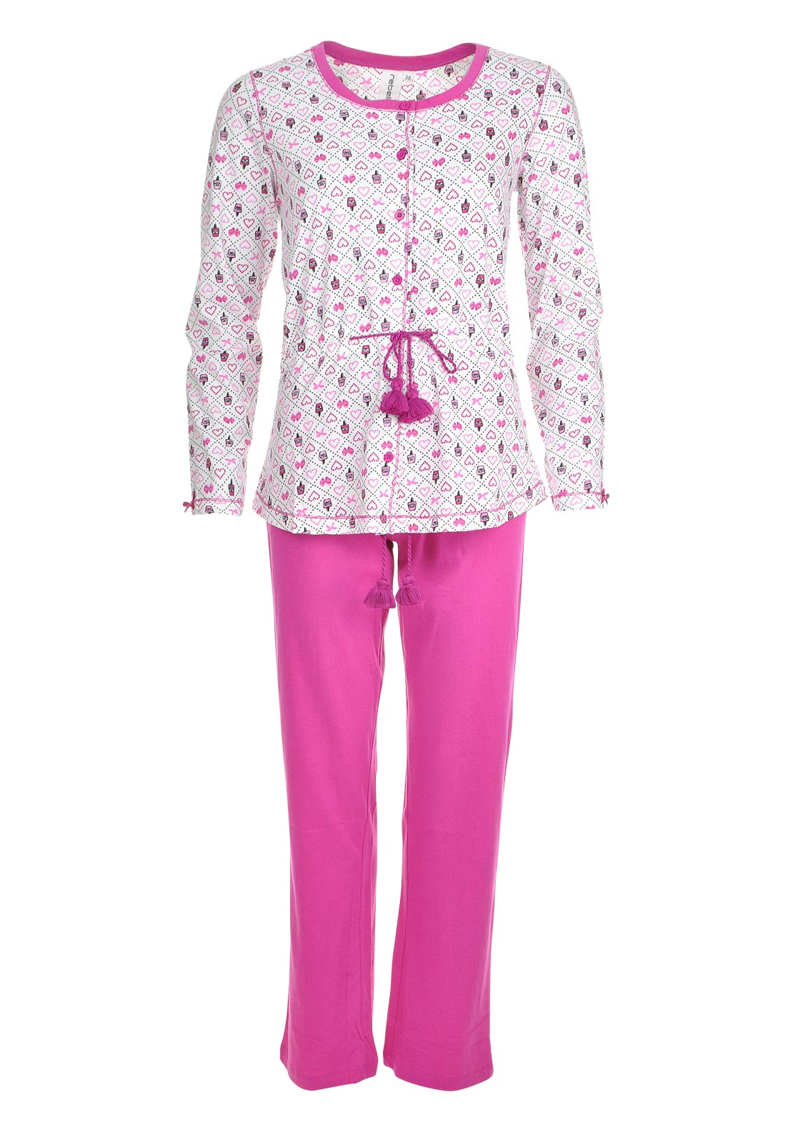 Rebelle Beauty Treats Print Tassel Waist Pyjama Set, Pink and White