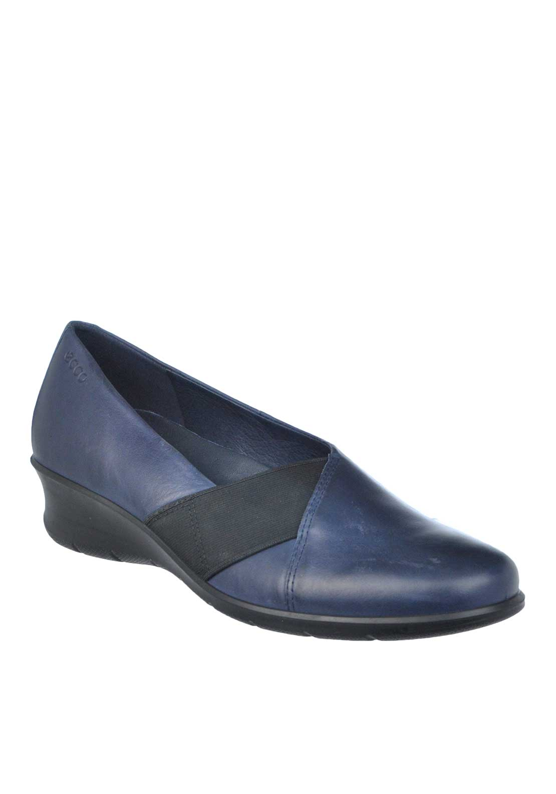 Ecco Womens Leather Elasticated Panel Wedged Shoe, Navy