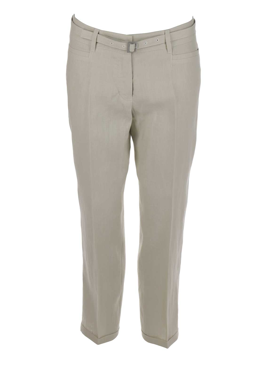 Gerry Weber Vicky Loose Fit Cropped Linen Trousers, Beige