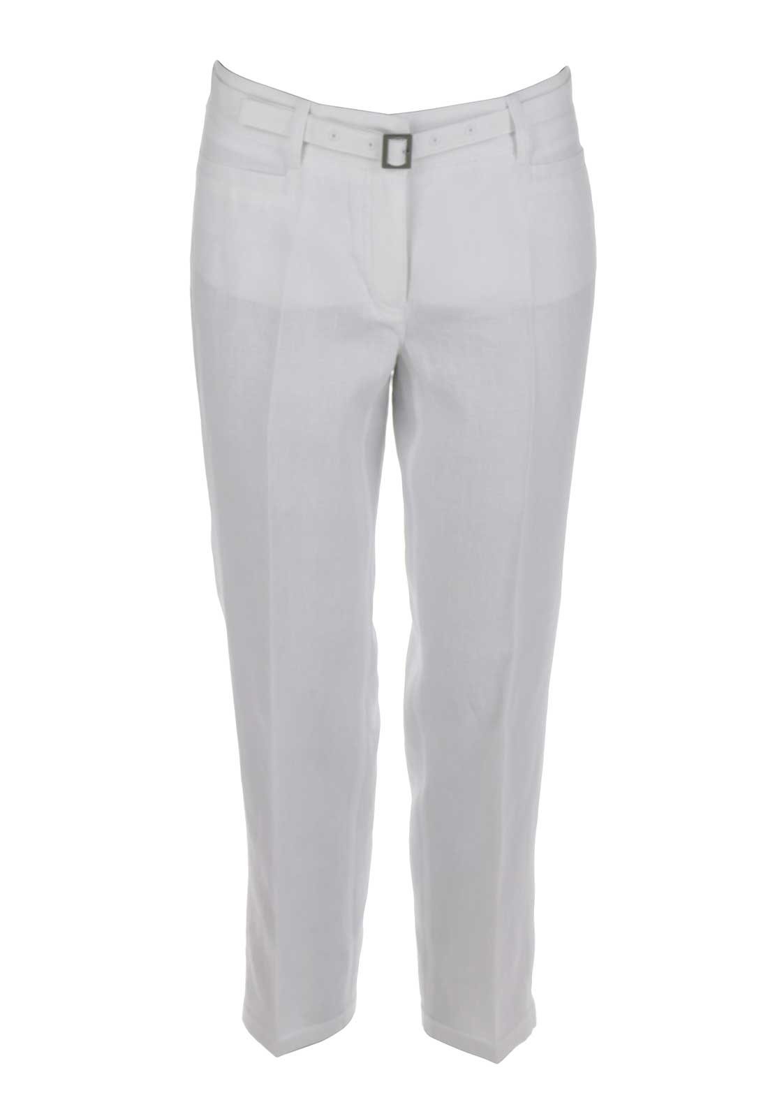 Gerry Weber Vicky Loose Fit Cropped Linen Trousers, White