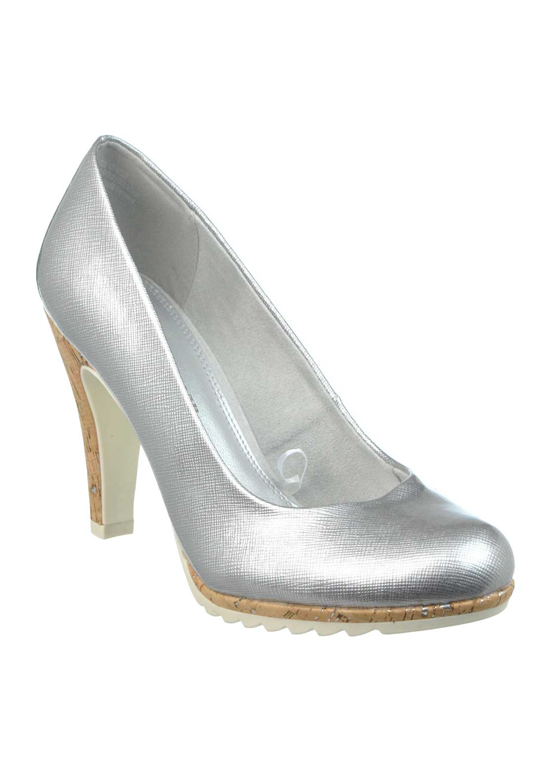 Marco Tozzi Patent Cork Heeled Court Shoes, Silver
