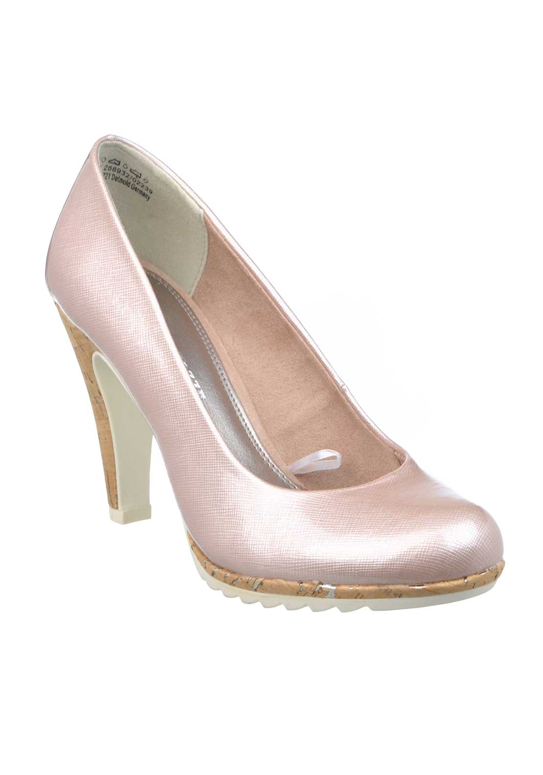 Marco Tozzi Patent Cork Heeled Court Shoes, Rose