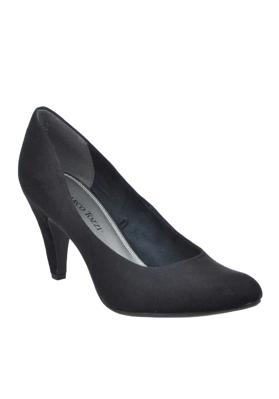 Marco Tozzi Faux Suede Pointed Toe Heeled Court Shoes, Black