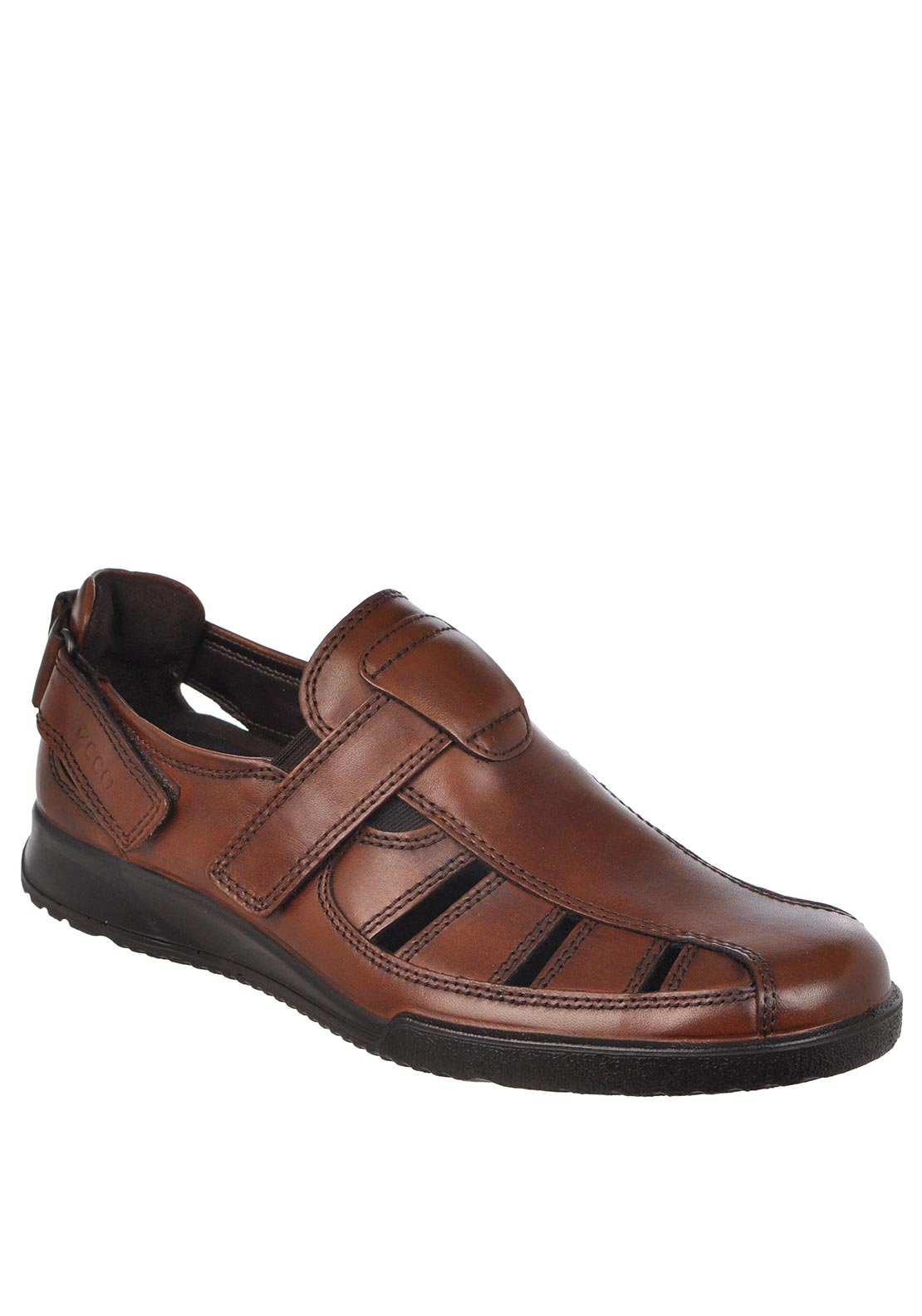 Ecco Mens Leather Cut Out Shoes, Brown
