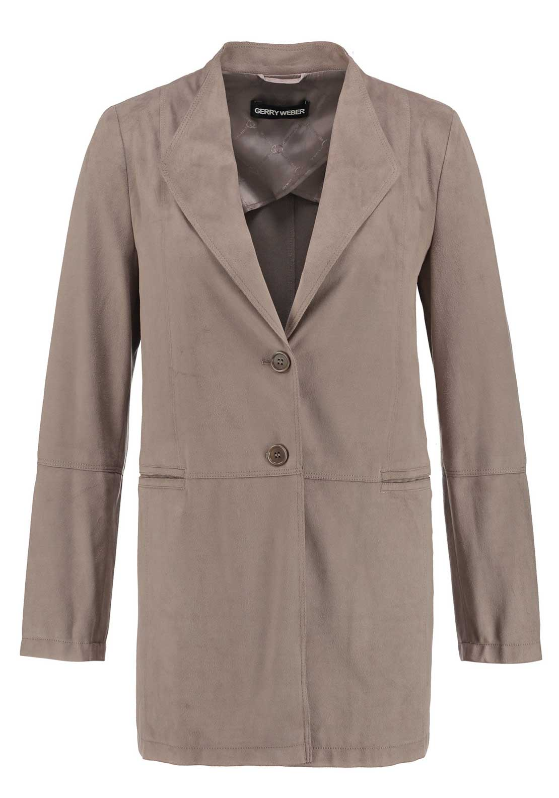Gerry Weber Long Line Faux Suede Jacket, Beige