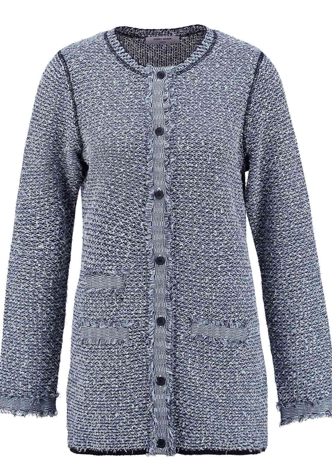 Gerry Weber Chunky Knit Long Cardigan, Blue
