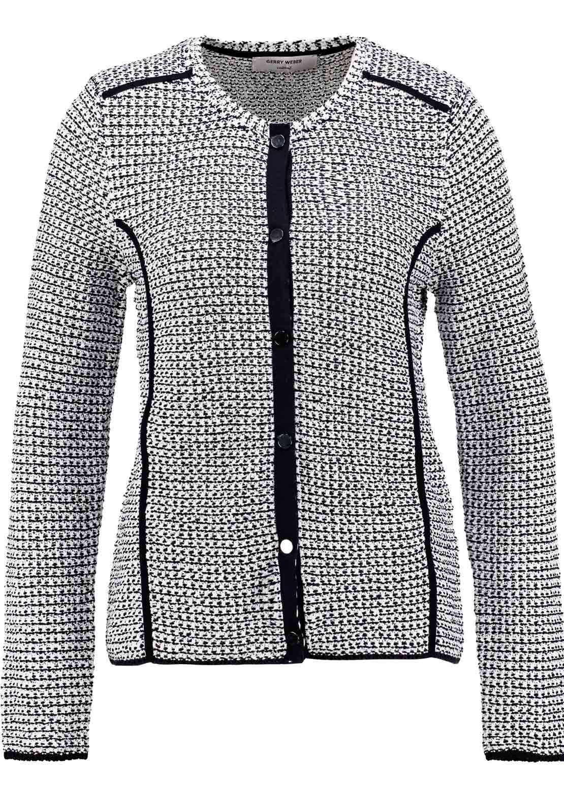 Gerry Weber Boucle Long Sleeve Cardigan, Navy Multi