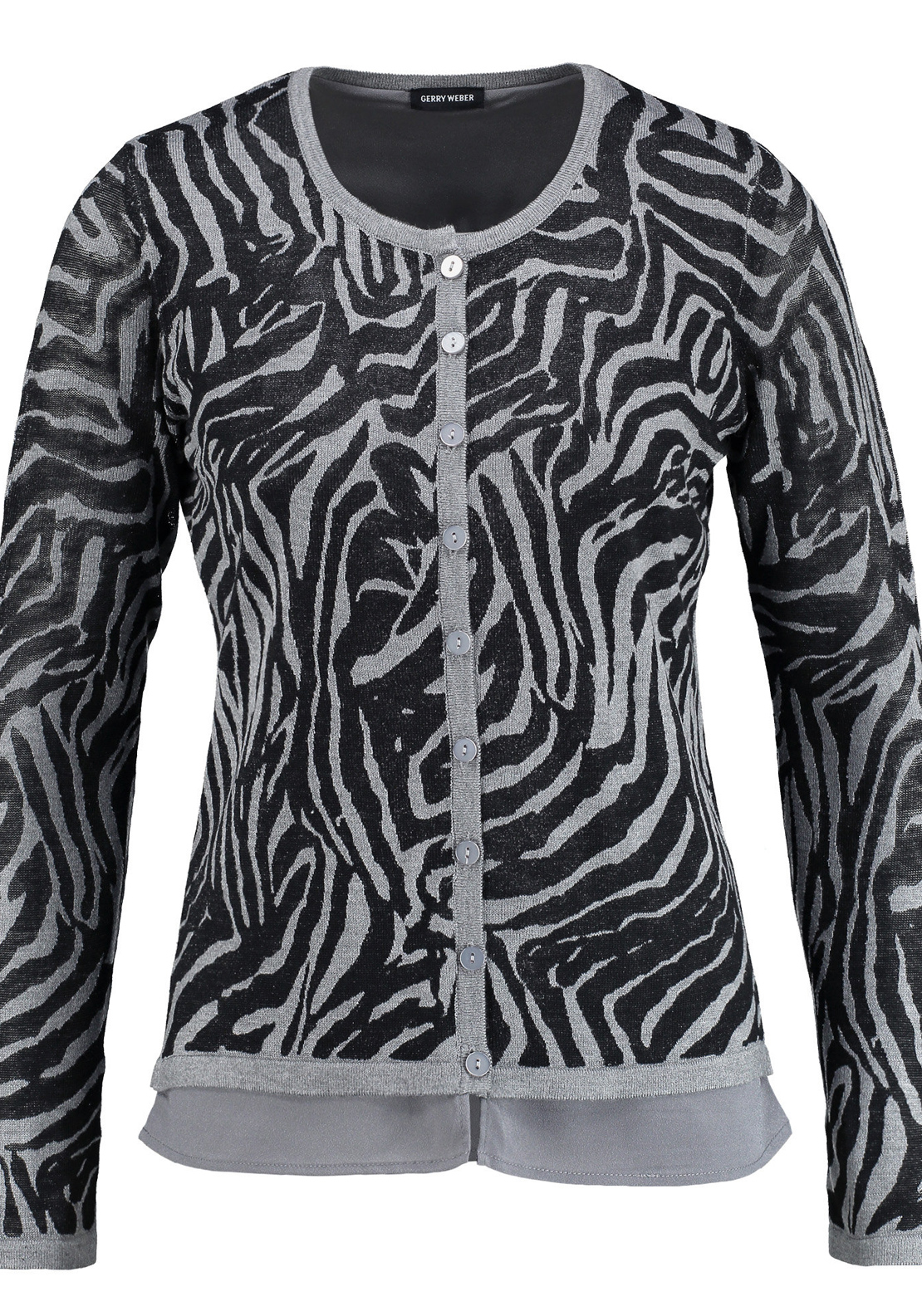 Gerry Weber Zebra Print Double Layer Cardigan, Black and Grey