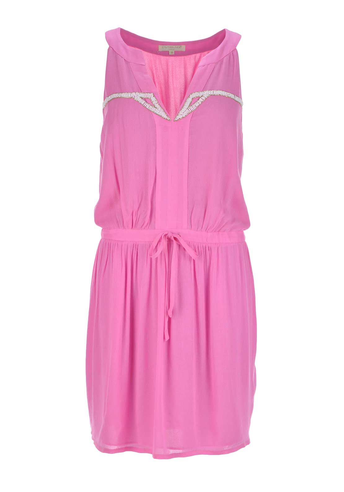 Color Block Sleeveless Beaded Embellishment Chiffon Dress, Pink