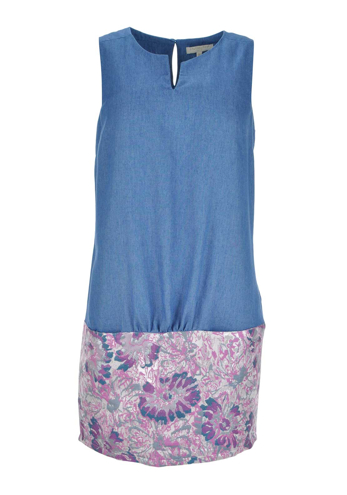 Color Block Sleeveless Embroidered Panel Dress, Denim Blue