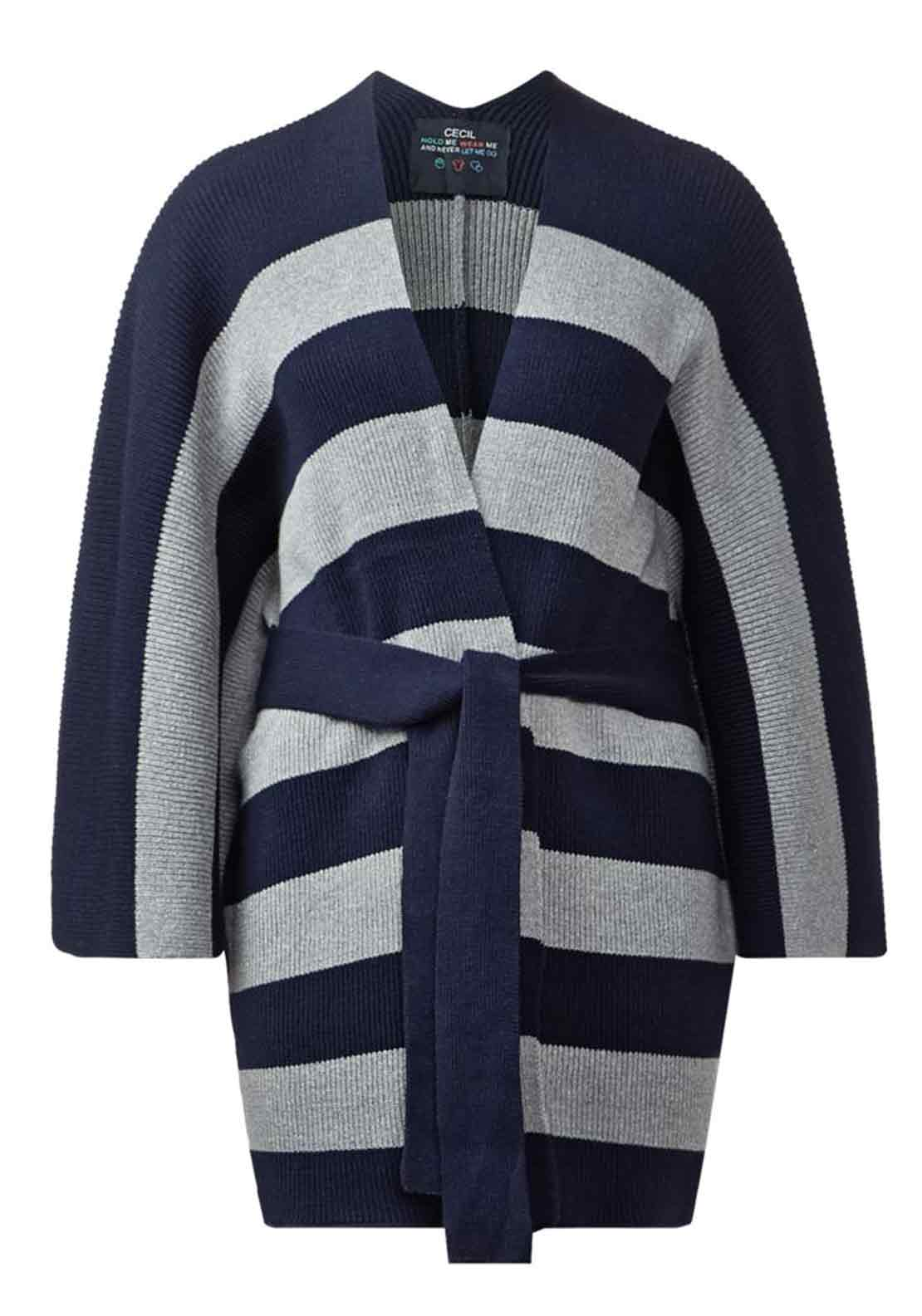 Cecil Striped Relaxed Fit Cotton Rich Cardigan, Navy and Grey