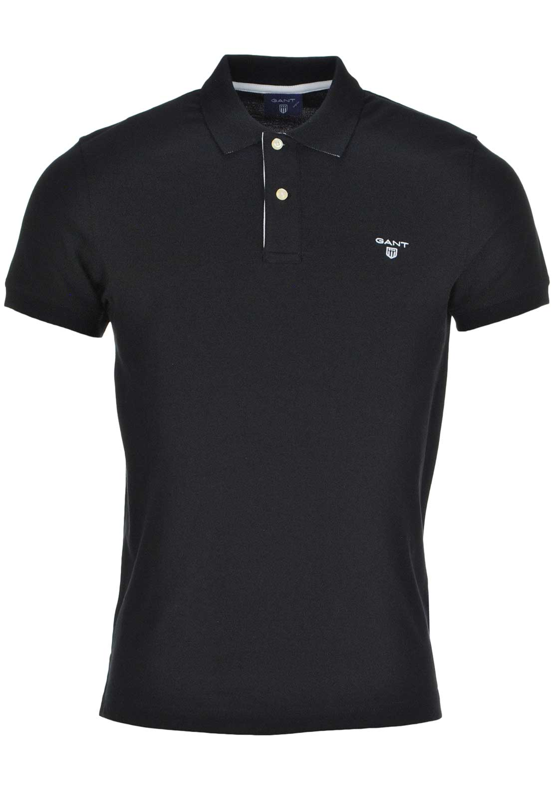 GANT Mens Contrast Collar Rugger Polo Shirt, Black