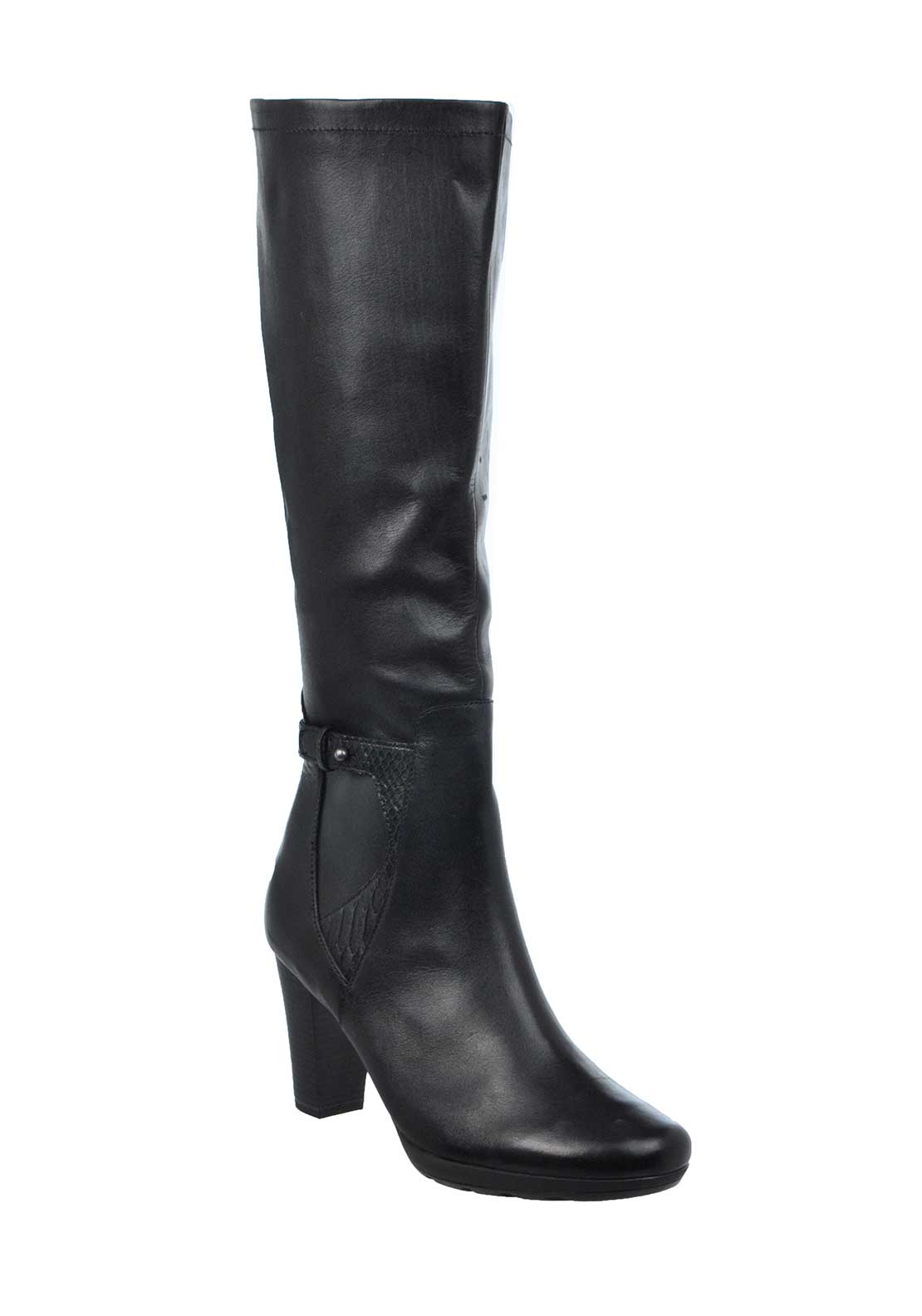 Caprice Leather Reptile Panel XS Long Heeled Boots, Black