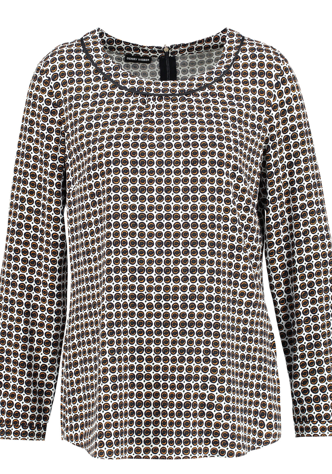 Gerry Weber Geometric Circle Print Long Sleeve Blouse, White Multi