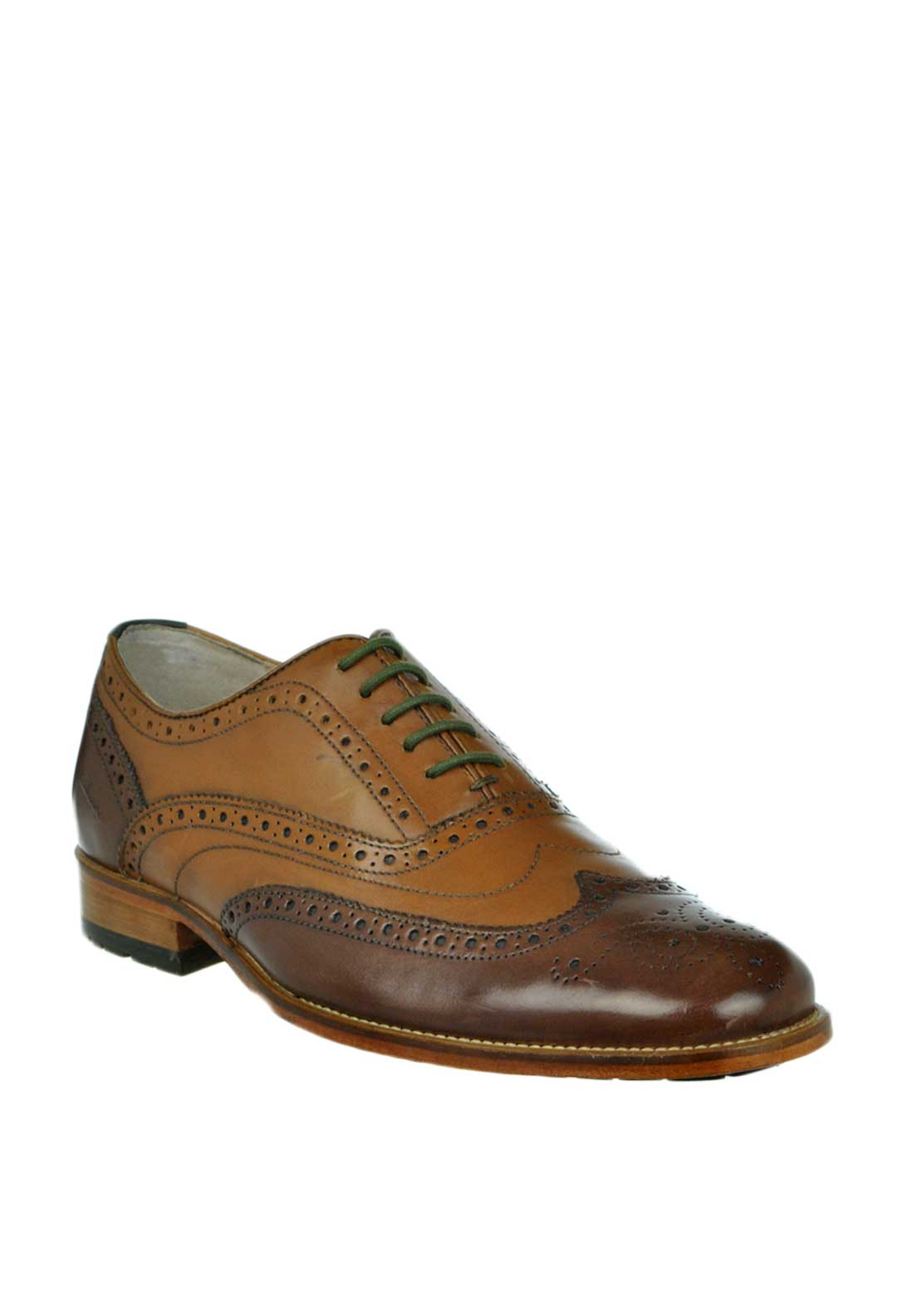 Clarks Mens Penton Limit Two Tone Leather Brogue Shoe, Tan