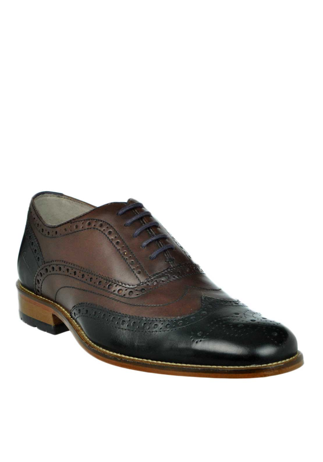 Clarks Mens Penton Limit Two Tone Leather Brogue Shoe, Brown and Black