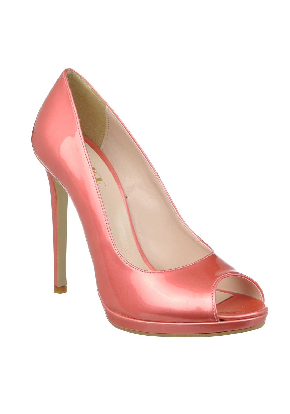 McElhinney's Patent Peep Toe Heeled Shoes, Coral