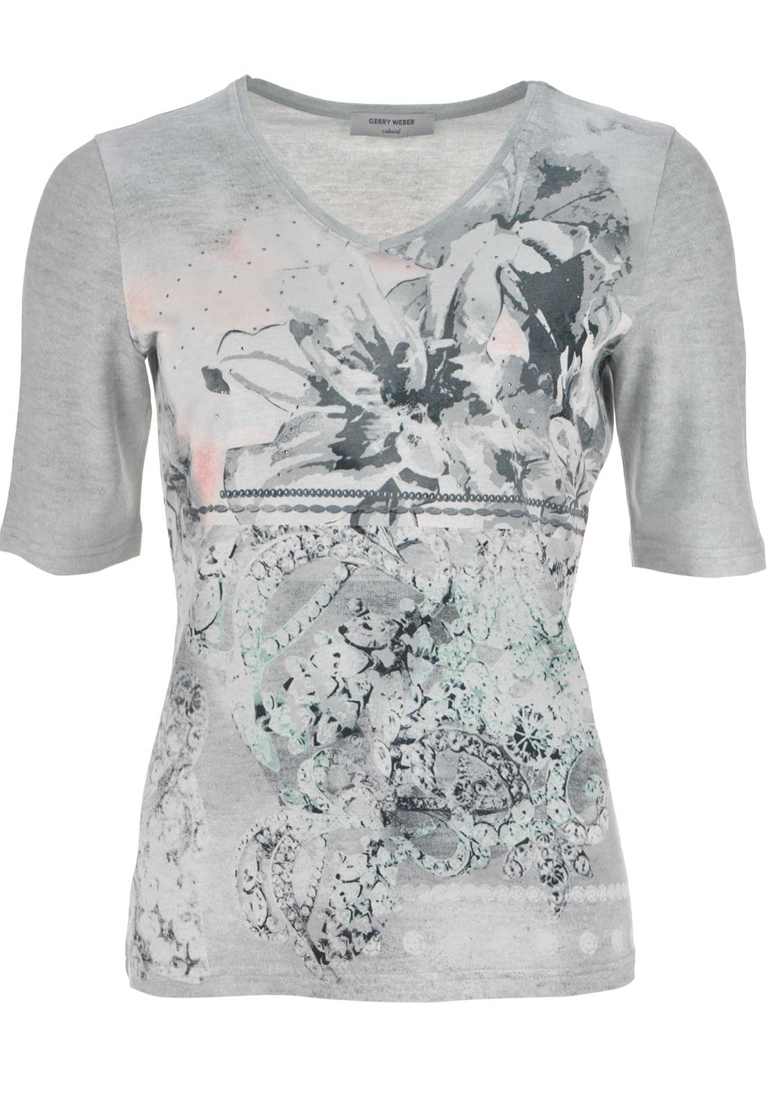 Gerry Weber Printed Short Sleeve V-Neck Top, Grey Multi