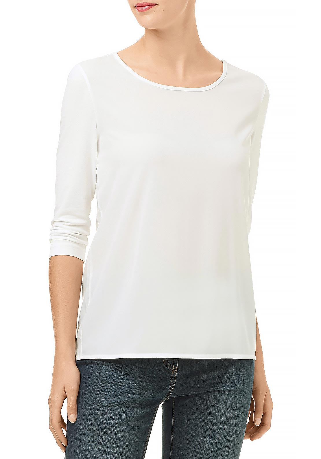 Gerry Weber Jersey Cropped Sleeve Chiffon Top, White