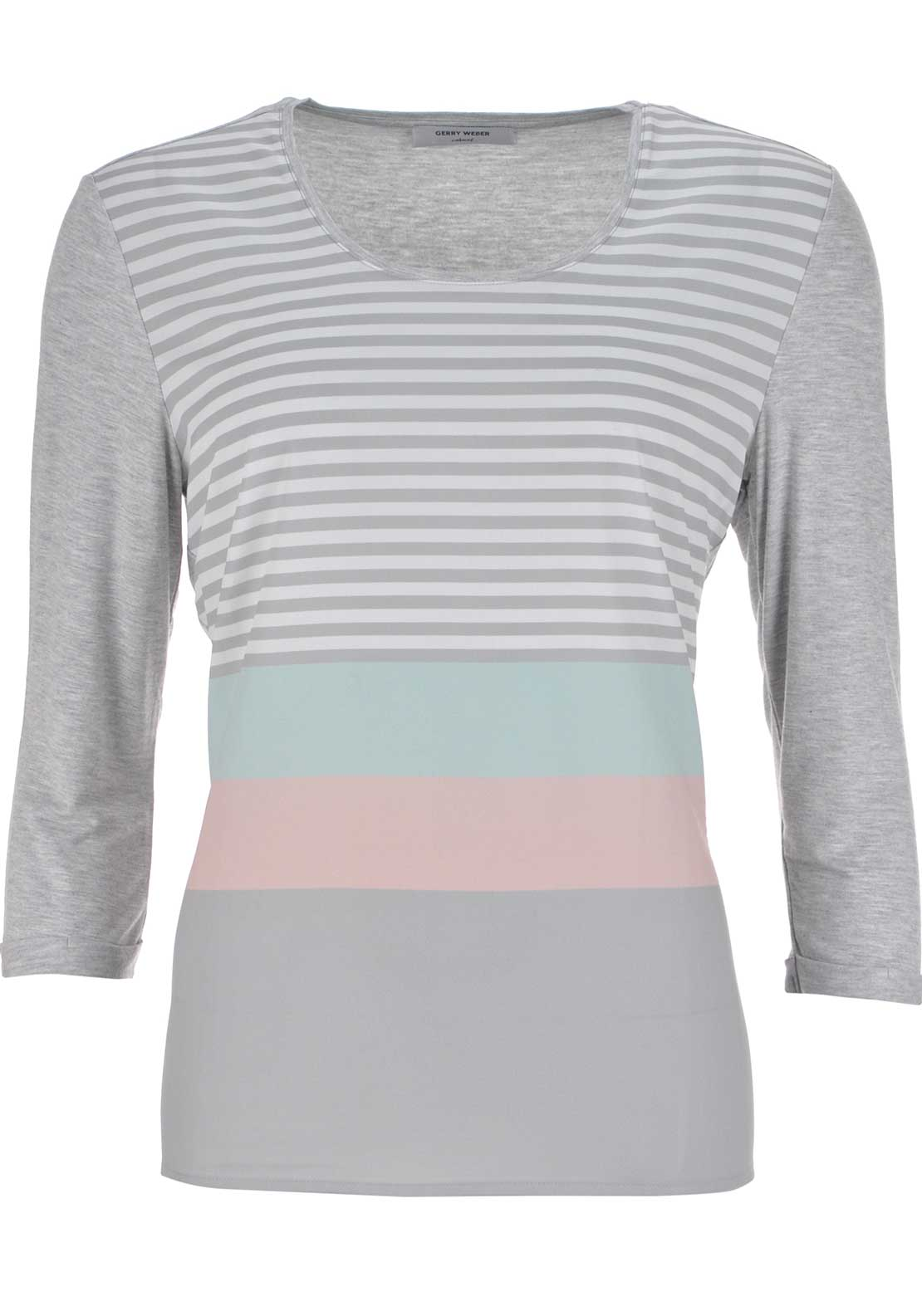 Gerry Weber Striped Cropped Sleeve Top, Grey Multi