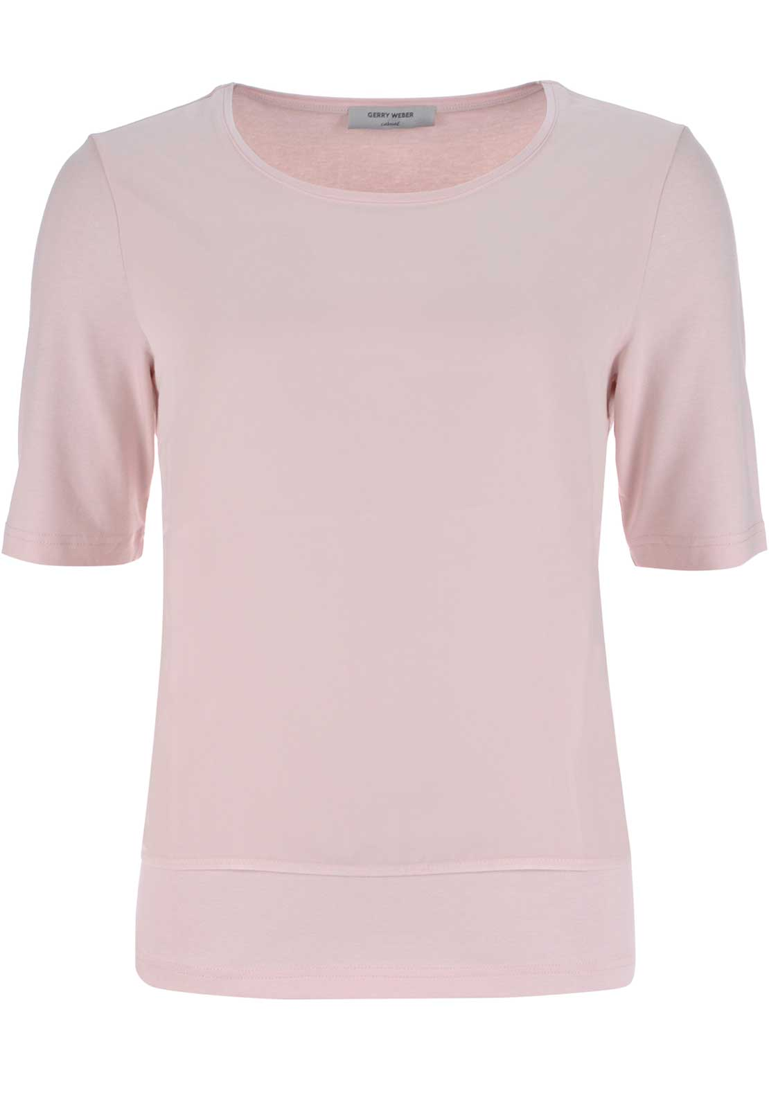 Gerry Weber Chiffon Overlay Short Sleeve Top, Pink