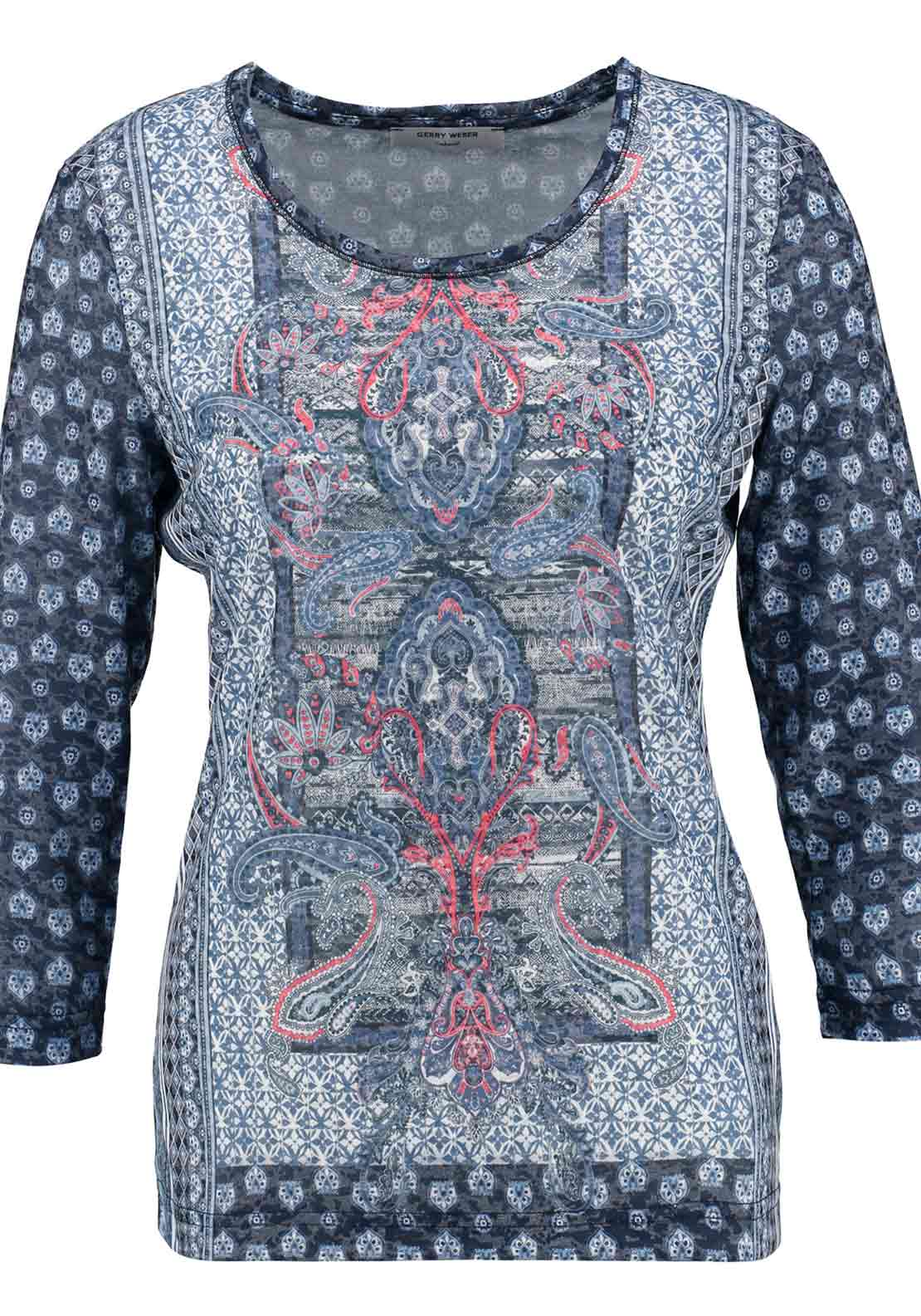 Gerry Weber Paisley Print Cropped Sleeve T-Shirt, Navy Multi