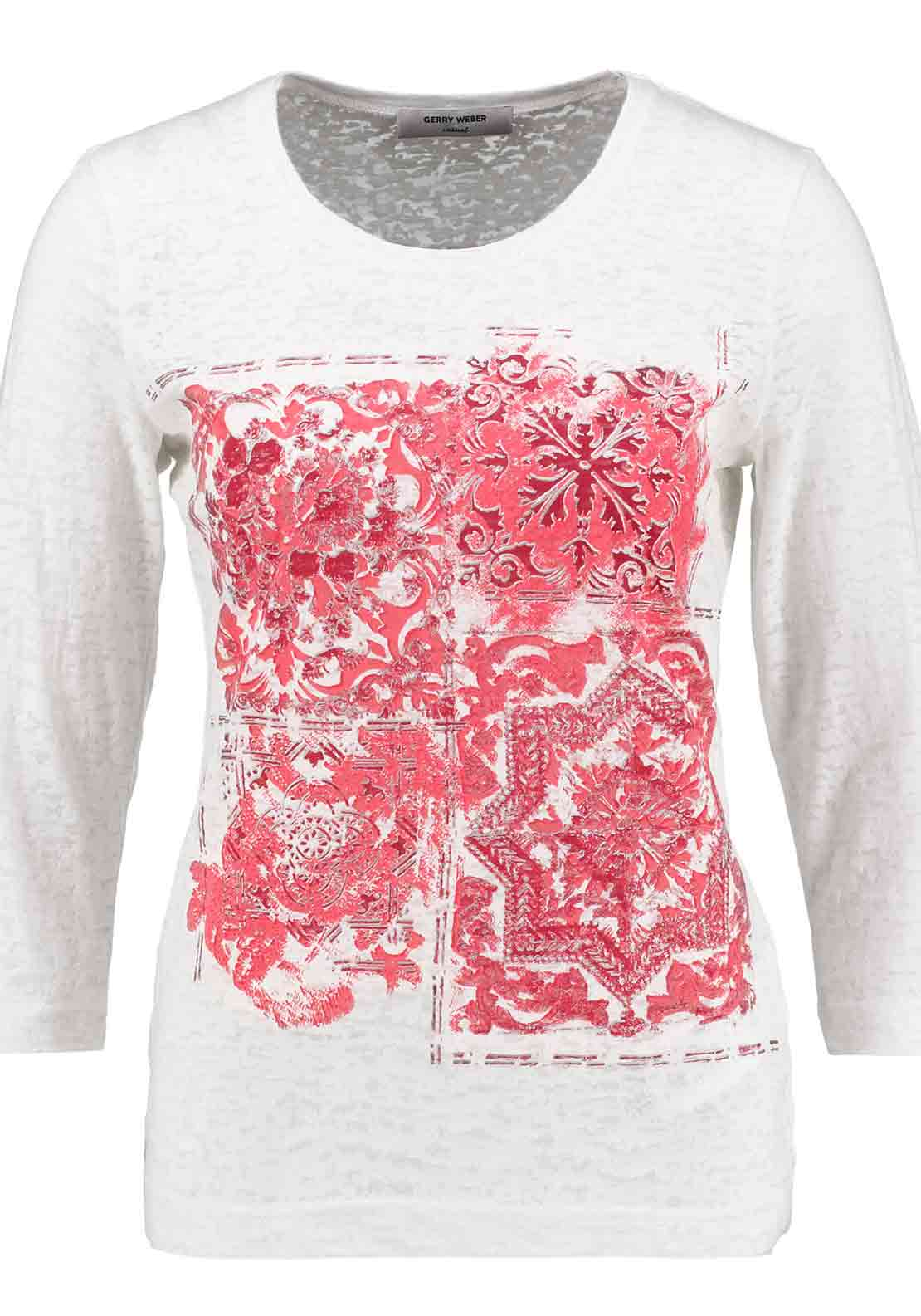 Gerry Weber Printed Cropped Sleeve T-Shirt, White and Pink