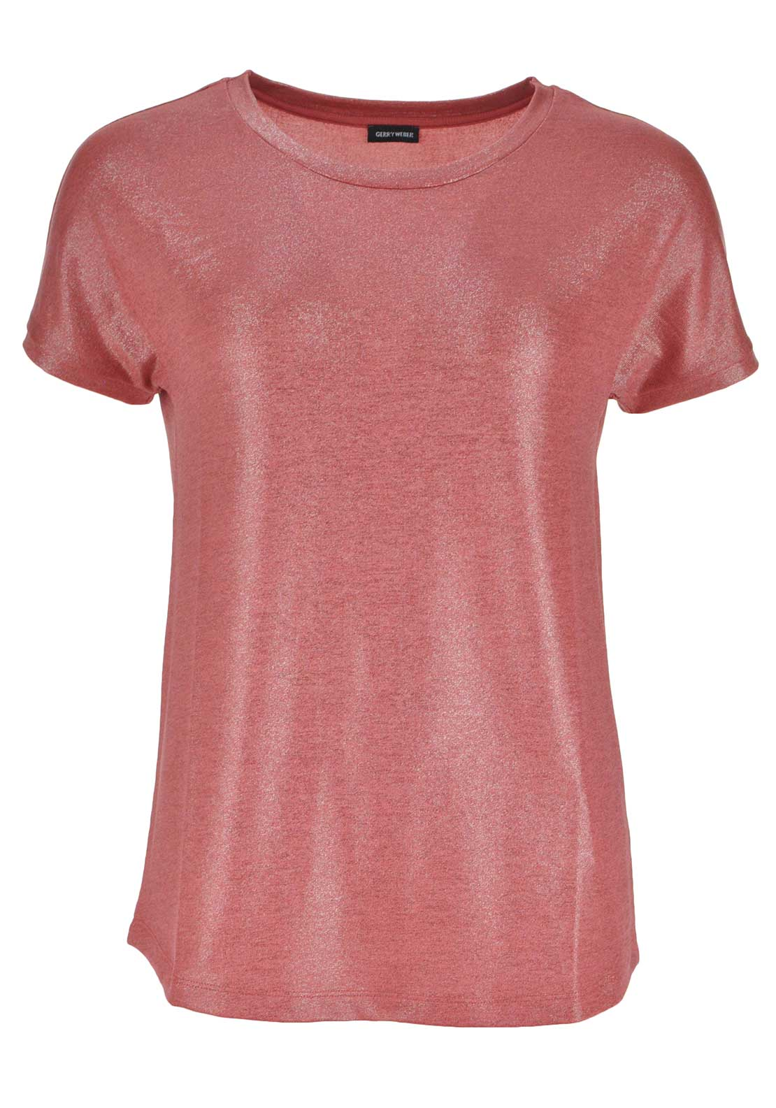 Gerry Weber Shimmer Short Sleeve Top, Coral Pink